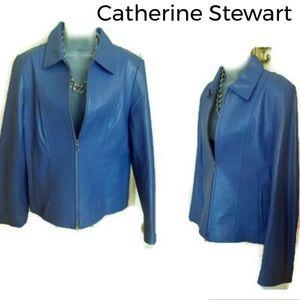 Leather Jacket CATHERINE STEWART Blue Genuine NWOT